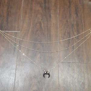 3 tier necklace with gem bullhorn.